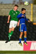 10 October 2018; Nathan Collins of Republic of Ireland in action against Džani Salcin of Bosnia and Herzegovina during the UEFA U19 European Championship Qualifying match between Bosnia & Herzegovina and Republic of Ireland at the City Calling Stadium in Longford. Photo by Seb Daly/Sportsfile