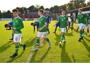 10 October 2018; Republic of Ireland players, from left, Aaron Bolger, Andrew Lyons, Conor Coventry and Nathan Collins prior to the UEFA U19 European Championship Qualifying match between Bosnia & Herzegovina and Republic of Ireland at the City Calling Stadium in Longford. Photo by Seb Daly/Sportsfile