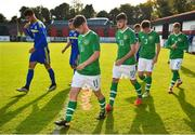 10 October 2018; Republic of Ireland players, from left, William Ferry, Troy Parrott, Jack James and Glen McAuley prior to the UEFA U19 European Championship Qualifying match between Bosnia & Herzegovina and Republic of Ireland at the City Calling Stadium in Longford. Photo by Seb Daly/Sportsfile