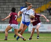 21 July 2018; Michelle Ryan of Waterford in action against Charlotte Cooney, left, and Sarah Lynch of Galway during the TG4 All-Ireland Senior Championship Group 3 Round 2 match between Galway and Waterford at St Brendan's Park in Birr, Co. Offaly.  Photo by Brendan Moran/Sportsfile