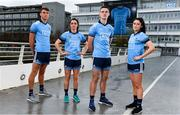 11 October 2018; Dublin stars, from left, Chris Crummey, Eve O'Brien, Brian Fenton, and Olwen Carey were on hand today to help Dublin GAA and sponsors AIG Insurance to officially launch the new Dublin jersey at AIG's head office in Dublin. Photo by Sam Barnes/Sportsfile