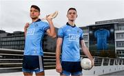 11 October 2018; Dublin stars Chris Crummey, left, and Brian Fenton were on hand today to help Dublin GAA and sponsors AIG Insurance to officially launch the new Dublin jersey at AIG's head office in Dublin.  Photo by Sam Barnes/Sportsfile