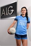 11 October 2018; Dublin star Olwen Carey was on hand today to help Dublin GAA and sponsors AIG Insurance to officially launch the new Dublin jersey at AIG's head office in Dublin.  Photo by Sam Barnes/Sportsfile