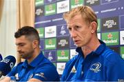 11 October 2018; Head coach Leo Cullen and Rob Kearney during a Leinster Rugby Press Conference at the InterContinental Hotel, in Ballsbridge, Dublin. Photo by Matt Browne/Sportsfile