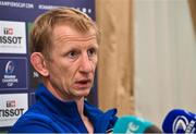 11 October 2018; Head coach Leo Cullen during a Leinster Rugby Press Conference at the InterContinental Hotel, in Ballsbridge, Dublin. Photo by Matt Browne/Sportsfile