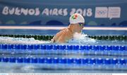 10 October 2018; Mona McSharry of Team Ireland, from Grange, Sligo, in action during the women's 100m breaststroke event, in the aquatic centre, Youth Olympic Park, on Day 4 of the Youth Olympic Games in Buenos Aires, Argentina. Photo by Eóin Noonan/Sportsfile