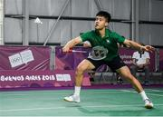 10 October 2018; Nhat Nguyen of Team Ireland, from Clarehall, Dublin, in action against Shifeng Li of China during the men's badminton singles, quarter final round, in Tecnópolis park, Buenos Aires, on Day 4 of the Youth Olympic Games in Buenos Aires, Argentina. Photo by Eóin Noonan/Sportsfile