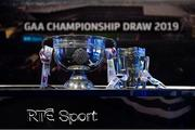 11 October 2018; The Sam Maguire Cup and The Liam Mac Carthy Cup before The GAA Championship Draw 2019 at RTÉ Studios in Donnybrook, Dublin. Photo by Piaras Ó Mídheach/Sportsfile