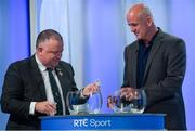 11 October 2018; Jim Bolger, Leinster GAA Chairman, left, and Offaly football manager John Maughan during The GAA Championship Draw 2019 at RTÉ Studios in Donnybrook, Dublin. Photo by Piaras Ó Mídheach/Sportsfile