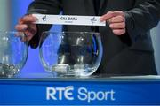 11 October 2018; Offaly football manager John Maughan draws out the name of Kildare during The GAA Championship Draw 2019 at RTÉ Studios in Donnybrook, Dublin. Photo by Piaras Ó Mídheach/Sportsfile