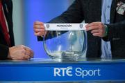 11 October 2018; Monaghan are drawn out during The GAA Championship Draw 2019 at RTÉ Studios in Donnybrook, Dublin. Photo by Piaras Ó Mídheach/Sportsfile