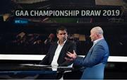 11 October 2018; RTÉ panellists Michael Duignan, left, and Anthony Daly during The GAA Championship Draw 2019 at RTÉ Studios in Donnybrook, Dublin. Photo by Piaras Ó Mídheach/Sportsfile