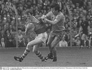 21 September 1980; Ger O'Driscoll, Kerry, in action against Pat Lindsay, Roscommon. All Ireland Football Final, Kerry V Roscommon, Croke Park. Picture credit: Ray McManus / SPORTSFILE