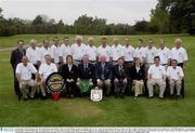 12 September 2003; Pictured at the All-Ireland finals of the Bulmers Pierce Purcell Shield at Lisburn Golf Club, the Gort G.C. team who beat Royal Tara by 3-2. Back row (left to right): Stephen Kent, Paddy Jordan, Kevin Mulkerrins, Niall OÕShaughnessy, Noel Murphy, John Fordham, Michael OÕGrady, Gerry Broderick, Gerry Cooney, Dave Samuals, Cathal Duffy, Noel OÕShaughnessy Jnr., Brendan Dolan and Gerry Cahill. Front row (left to right): Steve Mahon, Pat Craddock, Jane Joyce (Lady Captain), Joe Byrne (Captain), Michael Cunningham (Team Captain), Michael OÕDonoghue (President GUI), Chrissie McDonagh (President), John Counihan and Noel OÕShaughnessy Snr. Picture credit; Ray McManus / SPORTSFILE *EDI*