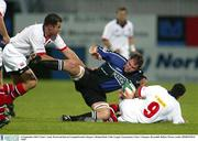 12 September 2003; Ulster's Andy Ward and Kieran Campbell tackle Glasgow's Roland Reid. Celtic League Tournament, Ulster v Glasgow, Ravenhill, Belfast. Picture credit; SPORTSFILE *EDI*