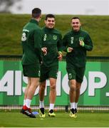 12 October 2018; Republic of Ireland players, from left, Darragh Lenihan, John Egan and Shaun Williams during a training session at the FAI National Training Centre in Abbotstown, Dublin. Photo by Stephen McCarthy/Sportsfile
