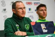 12 October 2018; Republic of Ireland manager Martin O'Neill and Jeff Hendrick during a press conference at the FAI National Training Centre in Abbotstown, Dublin. Photo by Stephen McCarthy/Sportsfile