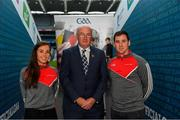 12 October 2018; Uachtarán Chumann Lúthchleas Gael John Horan with Cork camogie player Julia White and former Clare hurler Colin Ryan at the GAA/PDST Future Leaders TY Programme Launch at Croke Park in Dublin. Photo by Piaras Ó Mídheach/Sportsfile