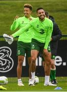 12 October 2018; Derrick Williams, right, and Callum Robinson during a Republic of Ireland training session at the FAI National Training Centre in Abbotstown, Dublin. Photo by Stephen McCarthy/Sportsfile