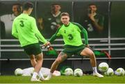 12 October 2018; Jeff Hendrick and Callum O'Dowda, left, during a Republic of Ireland training session at the FAI National Training Centre in Abbotstown, Dublin. Photo by Stephen McCarthy/Sportsfile