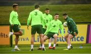12 October 2018; Republic of Ireland players, from left, Callum Robinson, John Egan, Matt Doherty, Darragh Lenihan and Scott Hogan during a training session at the FAI National Training Centre in Abbotstown, Dublin. Photo by Stephen McCarthy/Sportsfile