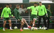 12 October 2018; Republic of Ireland players, from left, Callum O'Dowda, James McClean, Cyrus Christie and Colin Doyle during a training session at the FAI National Training Centre in Abbotstown, Dublin. Photo by Stephen McCarthy/Sportsfile