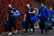 12 October 2018; Scott Fardy, left, Jack Conan, centre, and Jonathan Sexton of Leinster arrive ahead of the Heineken Champions Cup Pool 1 Round 1 match between Leinster and Wasps at the RDS Arena in Dublin. Photo by Ramsey Cardy/Sportsfile
