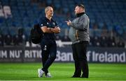 12 October 2018; Leinster senior coach Stuart Lancaster, left, with Wasps Director of Rugby Dai Young prior to the Heineken Champions Cup Pool 1 Round 1 match between Leinster and Wasps at the RDS Arena in Dublin. Photo by Brendan Moran/Sportsfile