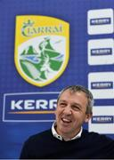 12 October 2018; Kerry football manager Peter Keane during a press conference at the Kerry GAA Centre of Excellence in Currans, Co. Kerry. Photo by Diarmuid Greene/Sportsfile