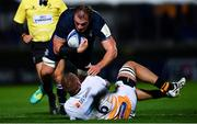 12 October 2018; Rhys Ruddock of Leinster is tackled by Brad Shields of Wasps during the Heineken Champions Cup Pool 1 Round 1 match between Leinster and Wasps at the RDS Arena in Dublin. Photo by Ramsey Cardy/Sportsfile