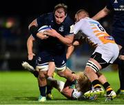 12 October 2018; Rhys Ruddock of Leinster is tackled by Tommy Taylor and Brad Shields of Wasps during the Heineken Champions Cup Pool 1 Round 1 match between Leinster and Wasps at the RDS Arena in Dublin. Photo by Matt Browne/Sportsfile