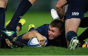 12 October 2018; Jordan Larmour of Leinster sets the ball up for his team-mates during the Heineken Champions Cup Pool 1 Round 1 match between Leinster and Wasps at the RDS Arena in Dublin. Photo by Brendan Moran/Sportsfile