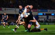 12 October 2018; Tadhg Furlong of Leinster is tackled by Brad Shields and Will Rowlands of Wasps during the Heineken Champions Cup Pool 1 Round 1 match between Leinster and Wasps at the RDS Arena in Dublin. Photo by Ramsey Cardy/Sportsfile