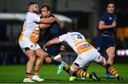 12 October 2018; Rhys Ruddock of Leinster is tackled by Kieran Brookes, left, and Will Rowlands of Wasps during the Heineken Champions Cup Pool 1 Round 1 match between Leinster and Wasps at the RDS Arena in Dublin. Photo by Ramsey Cardy/Sportsfile