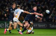 12 October 2018; Tadhg Furlong of Leinster offloads out of the tackles of Lima Sopoaga and Josh Bassett of Wasps during the Heineken Champions Cup Pool 1 Round 1 match between Leinster and Wasps at the RDS Arena in Dublin. Photo by Brendan Moran/Sportsfile
