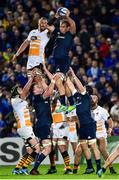 12 October 2018; Rhys Ruddock of Leinster takes the ball in a lineout against Brad Shields of Wasps during the Heineken Champions Cup Pool 1 Round 1 match between Leinster and Wasps at the RDS Arena in Dublin. Photo by Matt Browne/Sportsfile