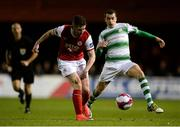 12 October 2018; James Doona of St. Patrick's Athletic in action against Joel Coustrain of Shamrock Rovers during the SSE Airtricity League Premier Division match between St Patrick's Athletic and Shamrock Rovers at Richmond Park in Dublin. Photo by Ben McShane/Sportsfile