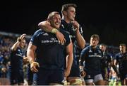 12 October 2018; Jack McGrath of Leinster is congratulated by team mate James Ryan after scoring his side's 8th try during the Heineken Champions Cup Pool 1 Round 1 match between Leinster and Wasps at the RDS Arena in Dublin. Photo by David Fitzgerald/Sportsfile