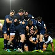 12 October 2018; Jack McGrath of Leinster celebrates scoring his side's eight try with team-mates during the Heineken Champions Cup Pool 1 Round 1 match between Leinster and Wasps at the RDS Arena in Dublin. Photo by Brendan Moran/Sportsfile