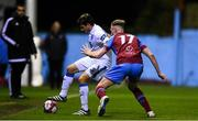 12 October 2018; John Kavanagh of Finn Harps in action against Ciaran Kelly of Drogheda United during the SSE Airtricity League Promotion / Relegation Play-off Series 1st leg match between Drogheda United and Finn Harps at United Park in Louth. Photo by Sam Barnes/Sportsfile