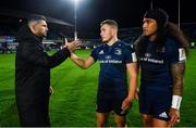 12 October 2018; Rob Kearney, left, Jordan Larmour, centre, and Joe Tomane of Leinster following their victory in the Heineken Champions Cup Pool 1 Round 1 match between Leinster and Wasps at the RDS Arena in Dublin. Photo by Ramsey Cardy/Sportsfile