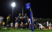 12 October 2018; Jack McGrath of Leinster is congratulated by team-mates Nick McCarthy and James Ryan after scoring their side's eighth during the Heineken Champions Cup Pool 1 Round 1 match between Leinster and Wasps at the RDS Arena in Dublin. Photo by Brendan Moran/Sportsfile