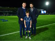 12 October 2018; Matchday mascot 9 year old Lachlan Honan, from Clontarf, Dublin, with Leinster players Barry Daly and Will Connors ahead of the Heineken Champions Cup Pool 1 Round 1 match between Leinster and Wasps at the RDS Arena in Dublin. Photo by Ramsey Cardy/Sportsfile