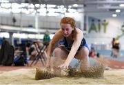 13 October 2018; Molly Curran of St Ciaran's College, Ballygawley, Co. Tyrone, competing in the Junior Girls Long Jump event during the Irish Life Health All-Ireland Schools Combined Events at AIT in Athlone, Co Westmeath. Photo by Sam Barnes/Sportsfile