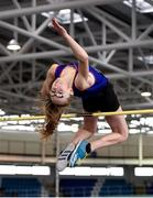 13 October 2018; Laura Kelly of Ratoath College, Co. Meath, competing in the Minor Girls High Jump event during the Irish Life Health All-Ireland Schools Combined Events at AIT in Athlone, Co Westmeath. Photo by Sam Barnes/Sportsfile