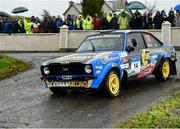13 October 2018; Gary Kiernan and Ryan Moore in their Ford Escort MkII during Stage 1 of the Jackson's Hotel Harvest Stages Rally during Round 7 of the 2018 National Rally Championship at Ballybofey, Co Donegal. Photo by Philip Fitzpatrick/Sportsfile