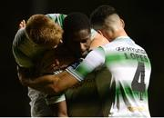 12 October 2018; Dan Carr of Shamrock Rovers, centre, celebrates after scoring his side's first goal with teammates Brandon Kavanagh, left, and Roberto Lopes during the SSE Airtricity League Premier Division match between St Patrick's Athletic and Shamrock Rovers at Richmond Park in Dublin. Photo by Ben McShane/Sportsfile