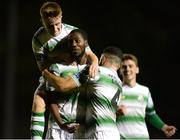 12 October 2018; Dan Carr of Shamrock Rovers, centre, celebrates after scoring his side's first goal with teammates Brandon Kavanagh, top, and Roberto Lopes during the SSE Airtricity League Premier Division match between St Patrick's Athletic and Shamrock Rovers at Richmond Park in Dublin. Photo by Ben McShane/Sportsfile