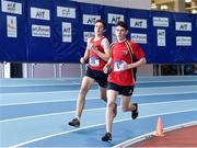 13 October 2018; Jack O'Connell of CMS, Co. Dublin, on his way to winning the Junior Boys 800m event,  ahead of Daniel Scott of Craigavon Senior High School, Co. Armagh, who finished second, during the Irish Life Health All-Ireland Schools Combined Events at AIT in Athlone, Co Westmeath. Photo by Sam Barnes/Sportsfile