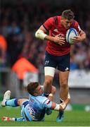 13 October 2018; Dan Goggin of Munster is tackled by Henry Slade of Exeter Chiefs during the Heineken Champions Cup Pool 2 Round 1 match between Exeter Chiefs and Munster at Sandy Park in Exeter, England. Photo by Brendan Moran/Sportsfile